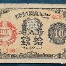 Billetes extranjeros: 10 SEN DE PLATA FRACCIONALES DE 1921 JAPÓN SERIE 406 VF. Lote 171588139