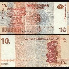 Billetes extranjeros: CONGO REP.. DEM. BONITO 10 FRANCS (FRANCOS) 30.6.2003. MASCARA.. Lote 195149797