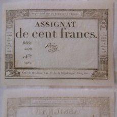 Billetes extranjeros: ASSIGNAT DE CENT FRANCS. 1794. SÉRIE 5470 Nº 1875. FRANCIA. Lote 171689757