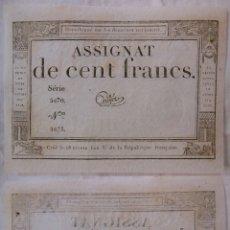 Billetes extranjeros: ASSIGNAT DE CENT FRANCS. 1794. SÉRIE 5470 Nº 1873. FRANCIA. Lote 171689948