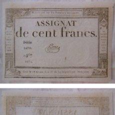 Billetes extranjeros: ASSIGNAT DE CENT FRANCS. 1794. SÉRIE 5470 Nº 1874. FRANCIA. Lote 171690250