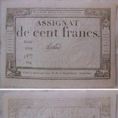 Billetes extranjeros: ASSIGNAT DE CENT FRANCS. 1794. SÉRIE 5519 Nº 114. FRANCIA. Lote 171690619