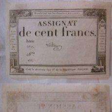 Billetes extranjeros: ASSIGNAT DE CENT FRANCS. 1794. SÉRIE 5715 Nº 451. FRANCIA. Lote 171690934