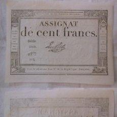 Billetes extranjeros: ASSIGNAT DE CENT FRANCS. 1794. SÉRIE 5519 Nº 113. FRANCIA. Lote 171695933