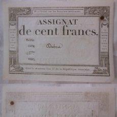 Billetes extranjeros: ASSIGNAT DE CENT FRANCS. 1794. SÉRIE 5519 Nº 1652. FRANCIA. Lote 171696200