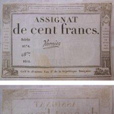 Billetes extranjeros: ASSIGNAT DE CENT FRANCS. 1794. SÉRIE 2674 Nº 1612. FRANCIA. Lote 171696619