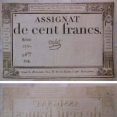 Billetes extranjeros: ASSIGNAT DE CENT FRANCS. 1794. SÉRIE 3157 Nº 318. FRANCIA. Lote 171697113