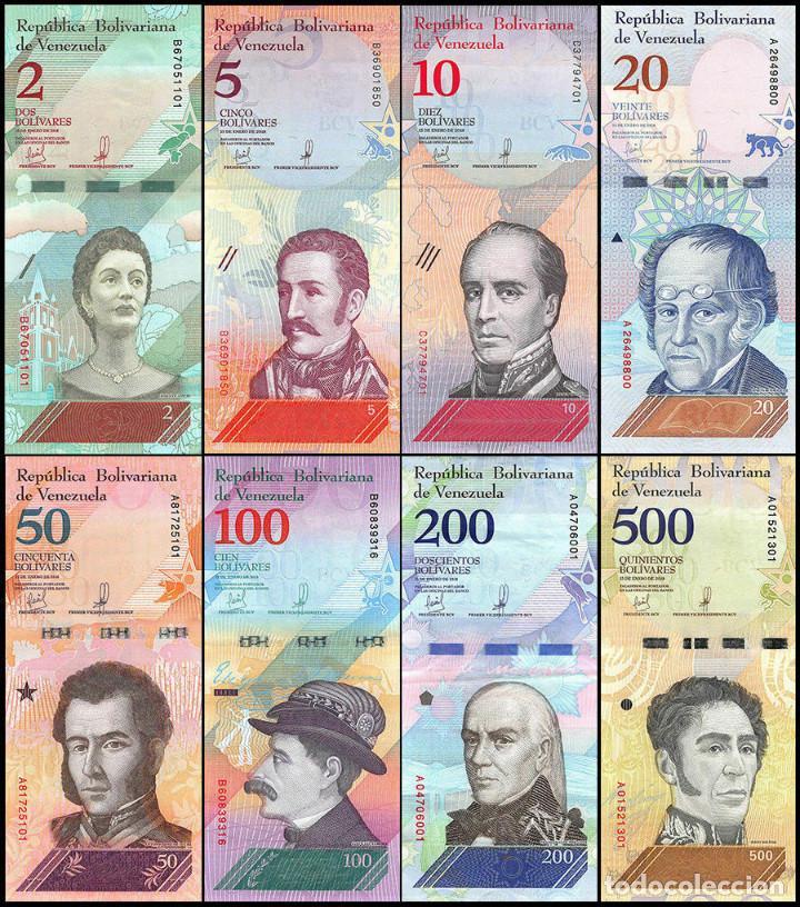 2-100000 Bolívares 21 Pcs Venezuela Banknotes Full Set 2-500 Soberanos UNC