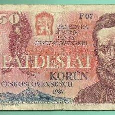 Billetes extranjeros: BILLETE CHECOSLOVAQUIA. 50 KORUN 1987. Lote 171803015