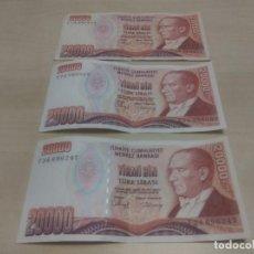 Billetes extranjeros: BILLETES DE 20000 TURK LIRASI. Lote 171831242