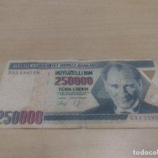 Billetes extranjeros: BILLETE DE 250000 TURK LIRASI. Lote 171831949