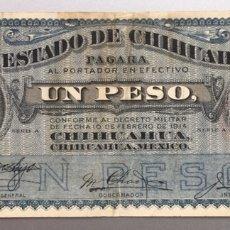Billetes extranjeros: MÉXICO. MÉJICO. ESTADO DE CHIHUAHUA. 1 PESO 1914. Lote 172394357