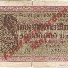 Billetes extranjeros: ALEMANIA (NOTGELD) - GERMANY 5.000.000.000 MARK 25-8-1923 SOBRE 50.000.000 MARK MUNCHEN. Lote 172904072