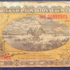 Billetes extranjeros: MEXICO GOBIERNO PROVISIONAL BILLETE DE 1 PESO DE 1914 USADO. Lote 173049682