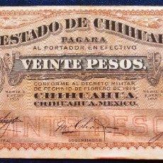 Billetes extranjeros: MEXICO CHIHUAHUA BILLETE DE 20 PESOS DE 1914 USADO. Lote 173049732