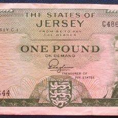 Billetes extranjeros: JERSEY BILLETE DE 1 POUND DE 1963 USADO. Lote 173050039