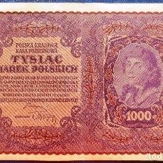 Billetes extranjeros: POLONIA BILLETE DE 1000 MAREK DE 1919 USADO ( ES MARRON). Lote 173050309