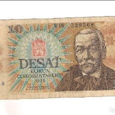 Billetes extranjeros: BILLETE DE 10 KORUN (CORONAS) DE CHECOSLOVAQUIA DE 1986. BC. WORLD PAPER MONEY-94. (BE102). Lote 173138960