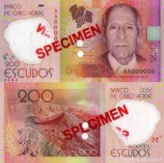 Billetes extranjeros: CAPE VERDE 200 (SPECIMEN) ESCUDOS FROM 2014, P71S, UNC. Lote 173507345