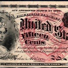 Billetes extranjeros: ESTADOS UNIDOS UNITED STATES USA - 15 CENTAVOS - SERIES DE 1863. Lote 173766058