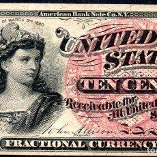 Billetes extranjeros: ESTADOS UNIDOS UNITED STATES USA - 10 CENTAVOS - SERIES DE 1863. Lote 173767087