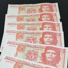 Billetes extranjeros: LOTE DE BILLETES DE 3 PESOS CUBANOS, ERNESTO CHE GUEVARA, 7 UNIDADES, CUBA. Lote 173796830