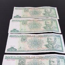 Billetes extranjeros: LOTE DE BILLETES DE 5 PESOS CUBANOS, ANTONIO MACEO , 5 UNIDADES, CUBA. Lote 173797107