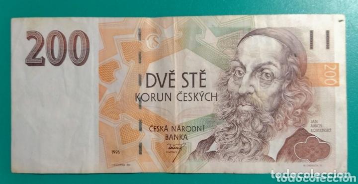REPÚBLICA CHECA. BILLETE 200 CORONAS. 1996. EBC. (Numismática - Notafilia - Billetes Internacionales)