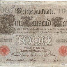 Billetes extranjeros: ALEMANIA - GERMANY 1.000 MARK 21-4-1910 PK 44 B SELLOS Y SERIE EN ROJO, SERIE DE 7 DÍGITOS. Lote 173876210