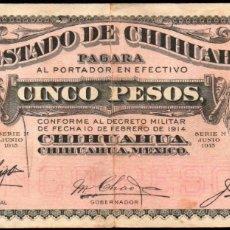 Billetes extranjeros: MEJICO - MEXICO - EL ESTADO DE CHIHUAHUA - 5 PESOS 1915. Lote 173922805
