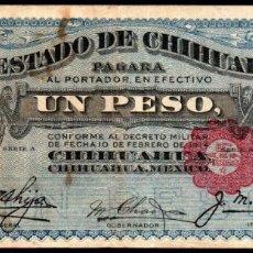 Billetes extranjeros: MEJICO - MEXICO - EL ESTADO DE CHIHUAHUA - 1 PESO 1914 - SELLO NEGRO. Lote 173923123