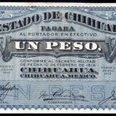 Billetes extranjeros: MEJICO - MEXICO - EL ESTADO DE CHIHUAHUA - 1 PESO 1914 - SELLO ROJO - EBC. Lote 173923338
