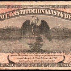Billetes extranjeros: MEJICO - MEXICO - EJERCITO CONSTITUCIONALISTA - CHIHUAHUA - 1 PESO 1915 - SELLO NEGRO. Lote 173923780