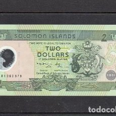 Billetes extranjeros: ISLAS SALOMON 2001. 2 DOLLARS. POLIMERO, P-21A, SC.UNC, 2 ESCANER. Lote 173950445