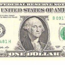 Billetes extranjeros: BILLETE DE USA DE 1 DOLAR EN PERFECTO ESTADO PLANCHA. Lote 174053205