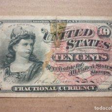 Billetes extranjeros: ESTADOS UNIDOS - UNITED STATES - USA - 10 CENTAVOS - SERIE 1863 ( VER FOTOGRAFIAS). Lote 174069140