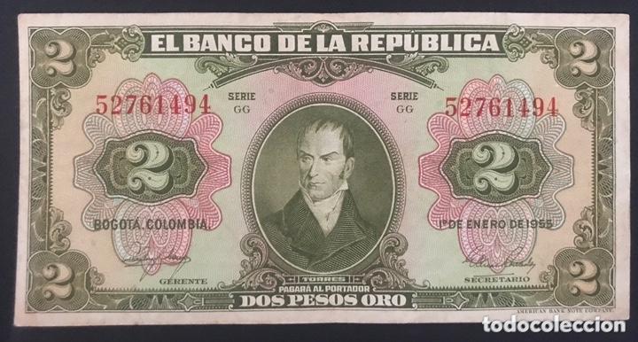 CMC COLOMBIA 2 PESOS ORO 1955 PICK 390-D MBC (Numismática - Notafilia - Billetes Internacionales)