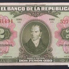 Banconote internazionali: CMC COLOMBIA 2 PESOS ORO 1955 PICK 390-D MBC. Lote 174071479
