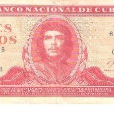Billetes extranjeros: BILLETE DE CUBA DE 3 PESOS DE 1986 CIRCULADO ERNESTO GUEVARA. Lote 174103023