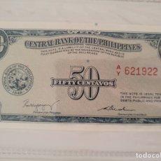 Billetes extranjeros: 50 CENTAVOS DE FILIPINAS. Lote 174171452