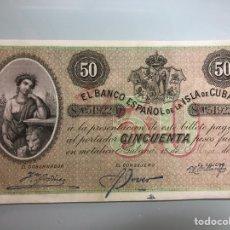 Billetes extranjeros: 50 PESOS FUERTES. CUBA. 1896. RARO. Lote 174462239