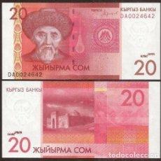 Billetes extranjeros: KIRGUISTAN (KYRGYZSTAN, KIRGUIZSTAN). 20 SOM (2017). S/C. VER FIRMA.. Lote 297265678