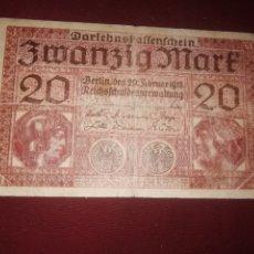 Billetes extranjeros: ALEMANIA. 20 MARCOS DE 1918. Lote 175151317