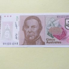 Billetes extranjeros: BILLETE ARGENTINA 5 AUSTRALES S/C PLANCHA. Lote 175236113