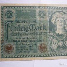 Billetes extranjeros: BILLETE FUNFZIG MARK 50 23-7-1920. Lote 175286070