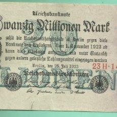 Billetes extranjeros: ALEMANIA. BILLETE DE 20 MILLONES DE MARK 1923. Lote 191277028