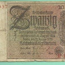 Billetes extranjeros: ALEMANIA. BILLETE DE 20 MARK 1929. Lote 175365575