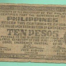 Billetes extranjeros: FILIPINAS: 10 PESOS 1942. TAGBILARAN BOHOL. Lote 175367278