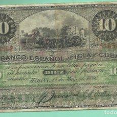 Billetes extranjeros: BILLETE BANCO ESPAÑOL DE LA ISLA DE CUBA. 10 PESO 1896. Lote 175371913
