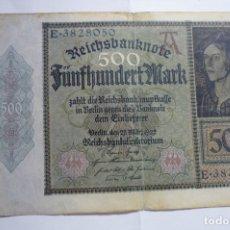 Billetes extranjeros: 500 FUNFHUNDERT MARK AÑO 1922 . Lote 175404230